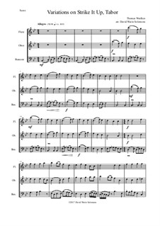 Strike it up Tabor: Variations, for wind trio by Thomas Weelkes