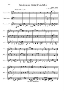 Strike it up Tabor: Variations, for clarinet trio by Thomas Weelkes