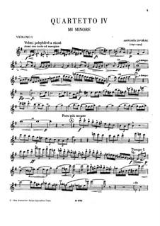 String Quartet No.4 in E Minor, B.19: violino parte I by Antonín Dvořák