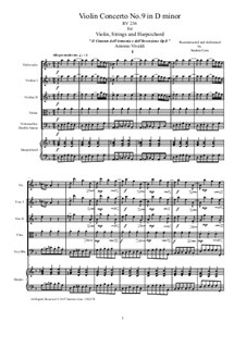 Violin Concerto No.9 in D Minor, RV 236: Score, parts by Antonio Vivaldi