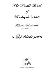 Book 4 (a cinque voci), SV 75–93: No.01 Ah! Dolente partita. Arrangement for quintet instruments by Claudio Monteverdi