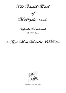 Book 4 (a cinque voci), SV 75–93: No.02 Cor mio mentre vi miro. Arrangement for quintet instruments by Claudio Monteverdi