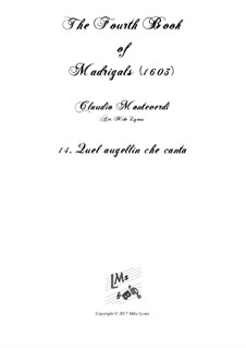 Book 4 (a cinque voci), SV 75–93: No.14 Quel augellin che canta. Arrangement for quintet instruments by Claudio Monteverdi
