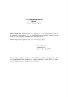 A Nantucket Prelude (1996) for piano: A Nantucket Prelude (1996) for piano by Carson Cooman