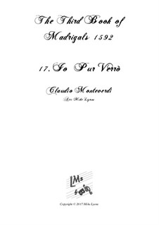 Book 3 (a cinque voci), SV 60–74: No.17 Io pur verrò. Arrangement for quintet instruments by Claudio Monteverdi