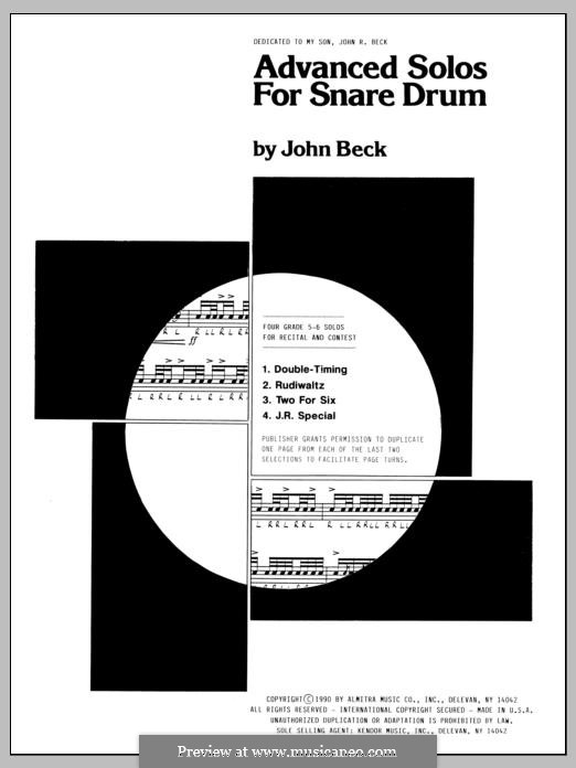 Advanced Solos for Snare Drum: Advanced Solos for Snare Drum by John H. Beck