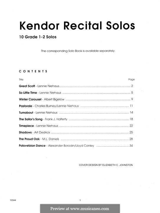Kendor Recital Solos - Trombone: With piano accompaniment by Lennie Niehaus, Frank J. Halferty, Lloyd Conley, Albert Bigelow, M. L. Daniels