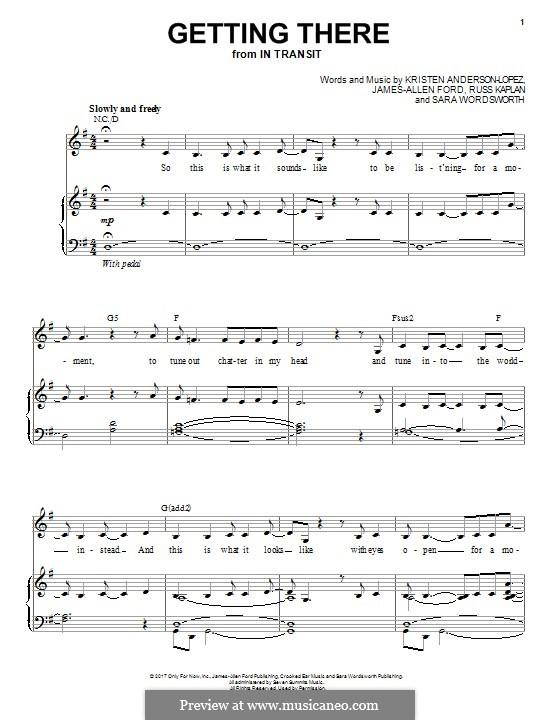 Getting There: Para vocais e piano (ou Guitarra) by Kristen Anderson-Lopez, James-Allen Ford, Russ Kaplan, Sara Wordsworth