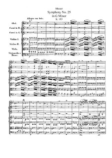 Symphony No.25 in G Minor, K.183: Partitura completa by Wolfgang Amadeus Mozart