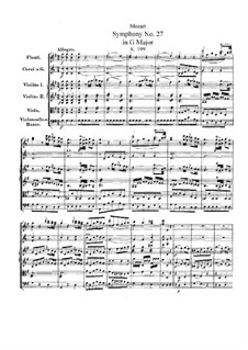 Symphony No.27 in G Major, K.199: Partitura completa by Wolfgang Amadeus Mozart