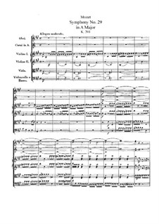 Symphony No.29 in A Major, K.201: Partitura completa by Wolfgang Amadeus Mozart