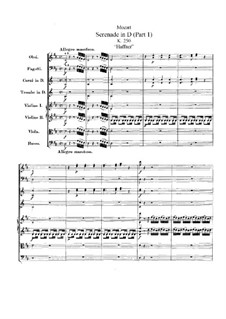 Serenade for Orchestra No.7 in D Major 'Haffner', K.250: Partitura completa by Wolfgang Amadeus Mozart