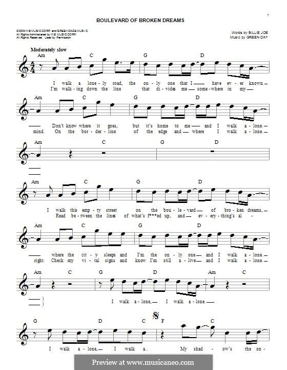 Boulevard of Broken Dreams (Green Day): melodia by Billie Joe Armstrong, Tré Cool, Michael Pritchard