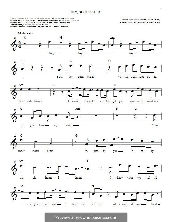 Hey, Soul Sister (Train): melodia by Amund Bjorklund, Espen Lind, Patrick Monahan