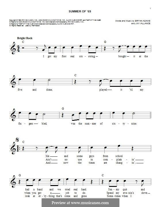 Summer of '69: melodia by Bryan Adams, Jim Vallance