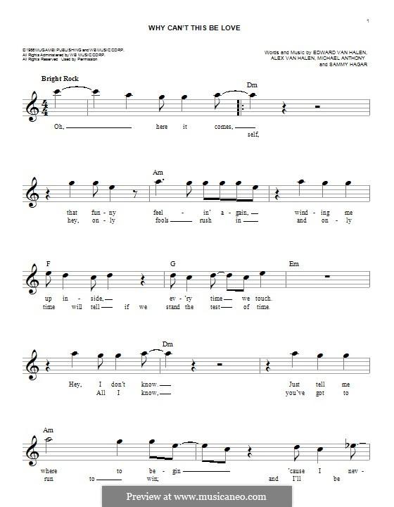 Why Can't This Be Love (Van Halen): melodia by Alex Van Halen, Edward Van Halen, Michael Anthony, Sammy Hagar