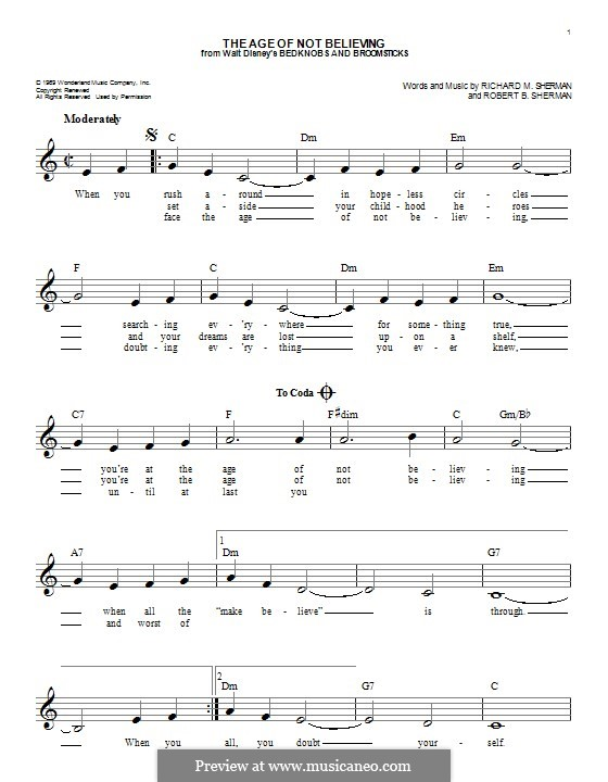 The Age of Not Believing (Angela Lansbury): melodia by Richard M. Sherman, Robert B. Sherman