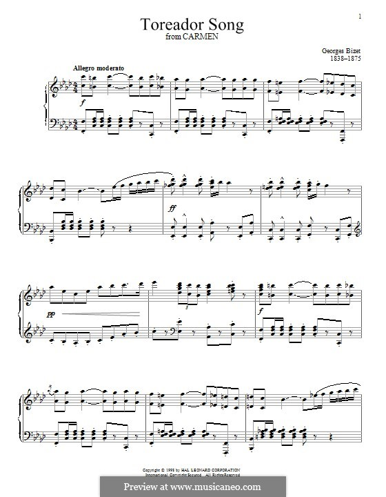 Toreador's Song: Para Piano by Georges Bizet