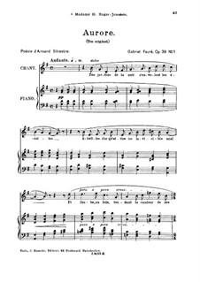Four Songs, Op.39: No.1 Aurore, for high voice by Gabriel Fauré