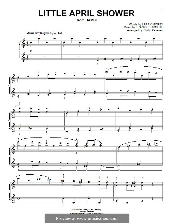 Little April Shower (from Bambi): Para Piano by Frank Churchill