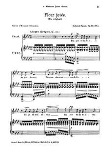 Four Songs, Op.39: No.2 Fleur jetée, for high voice by Gabriel Fauré