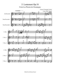 Les Plaisirs de Champigny, Op.18: No.5 Lentement (trio recorder ATT) by Jacques-Christophe Naudot