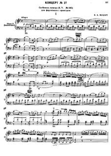 Concerto for Piano and Orchestra No.27 in B Flat Major, K.595: arranjos para dois pianos de quatro mãos by Wolfgang Amadeus Mozart