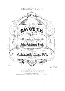 Suite for Cello No.6 in D Major, BWV 1012: arranjo para piano by Johann Sebastian Bach