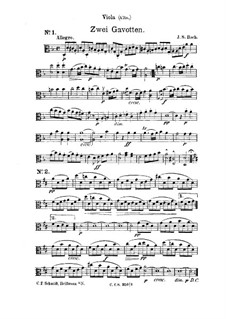 Gavotte in D Minor: Arrangement for strings – viola part by Johann Sebastian Bach