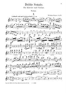 Sonata No.3 for Violin and Piano, Op.70: parte do violino by Wilhelm Berger