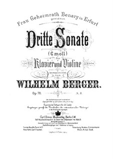 Sonata No.3 for Violin and Piano, Op.70: Score by Wilhelm Berger