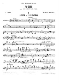 Poem for Piano Quintet: violino parte I by Gabriel Dupont