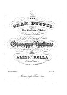 Three Grand Duos for Violin and Viola, BI 57, 96, 106 Op.12: Three Grand Duos for Violin and Viola by Alessandro Rolla