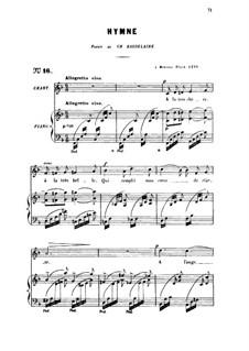 Three Songs, Op.7: No.2 Hymne (Hymn), for medium voice by Gabriel Fauré