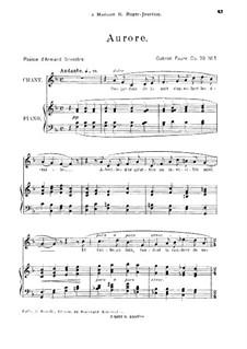 Four Songs, Op.39: No.1 Aurore, for medium voice by Gabriel Fauré
