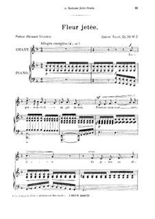 Four Songs, Op.39: No.2 Fleur jetée, for medium voice by Gabriel Fauré