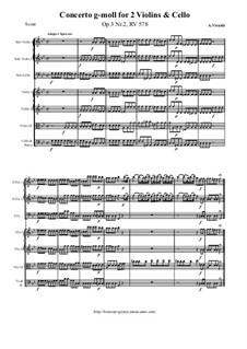 Concerto for Two Violins, Cello and Strings No.2 in G Minor, RV 578: partituras completas, partes by Antonio Vivaldi