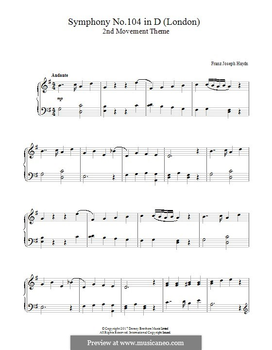 Symphony No.104 in D Major 'London', Hob.I/104: Movement II. Theme, for piano by Joseph Haydn