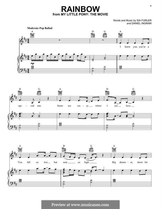 Rainbow (from 'My Little Pony'): Para vocais e piano (ou Guitarra) by Sia Furler, Daniel Ingram