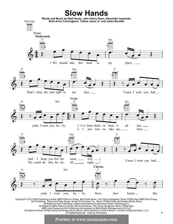 Slow Hands: para ukulele by Julian Bunetta, Ruth Anne Cunningham, Niall Horan, John Henry Ryan, Tobias Jesso, Alexander Izquierdo