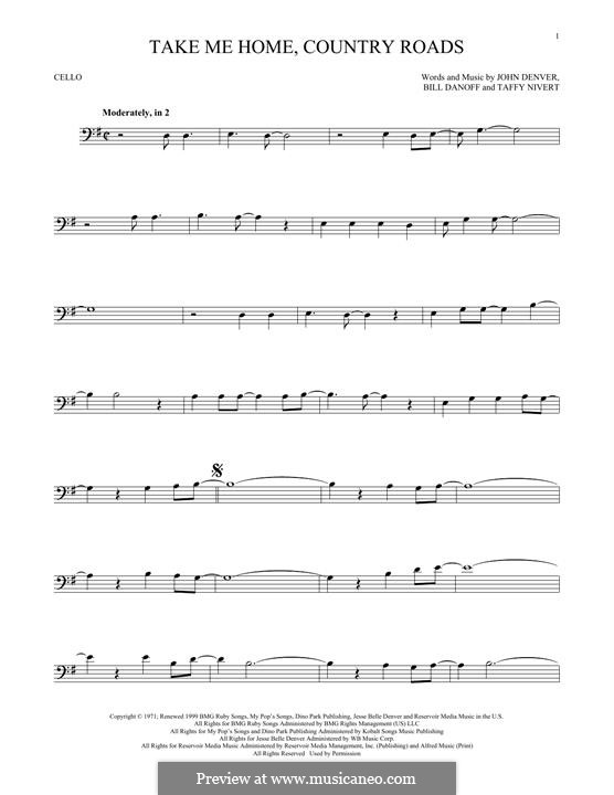 Take Me Home, Country Roads: para violoncelo by Bill Danoff, John Denver, Taffy Nivert