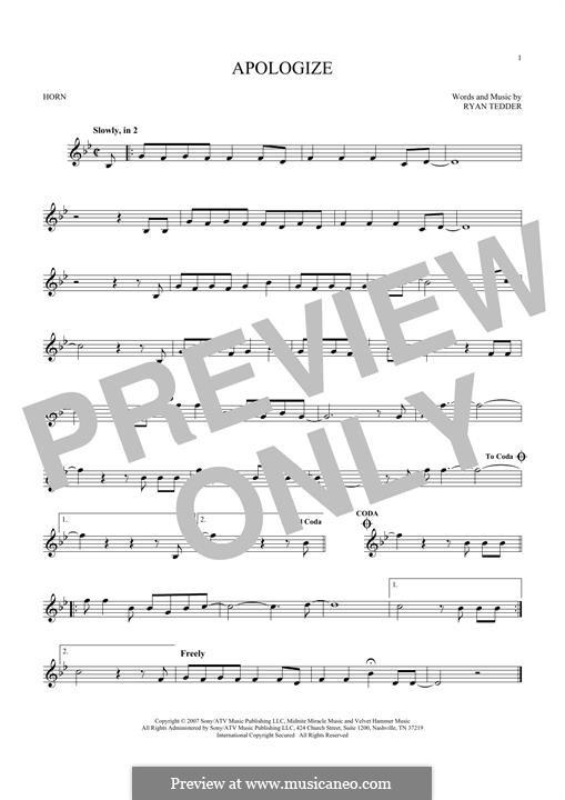 Apologize (OneRepublic): For horn by Ryan B Tedder