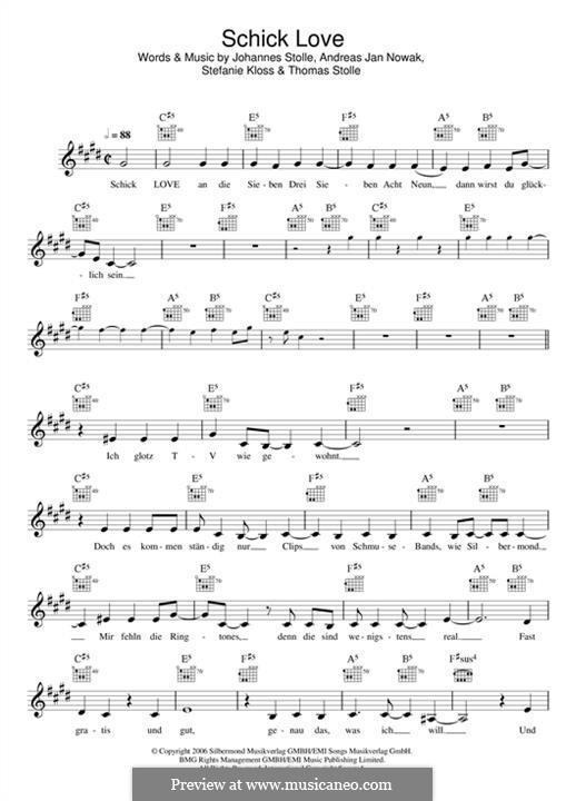 Schick Love (Silbermond): melodia by Johannes Stolle, Thomas Stolle, Andreas Jan Nowak, Stefanie Kloss