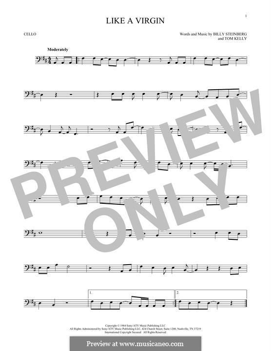 Like a Virgin (Madonna): para violoncelo by Billy Steinberg, Tom Kelly