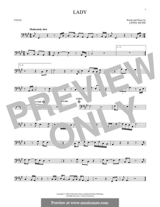 Lady: para violoncelo by Lionel Richie