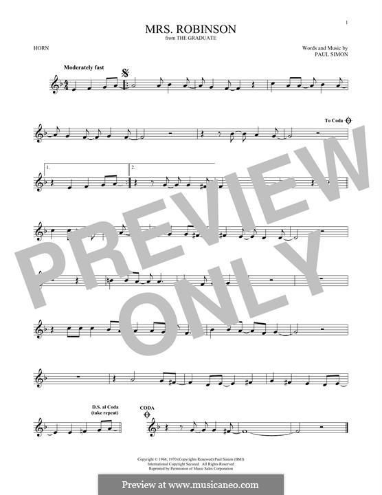 Mrs. Robinson (Simon & Garfunkel): For horn by Paul Simon
