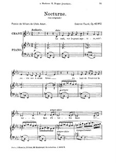 Two Songs, Op.43: No.2 Nocturne, for medium voice by Gabriel Fauré