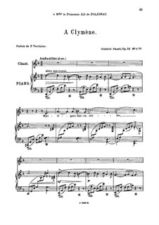 Five Songs, Op.58: No.4 A Clymène, for medium voice by Gabriel Fauré