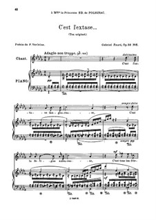 Five Songs, Op.58: No.5 C'est l'extase, for medium voice by Gabriel Fauré