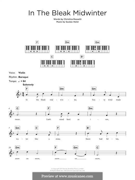 In the Bleak Midwinter: para teclado by Gustav Holst